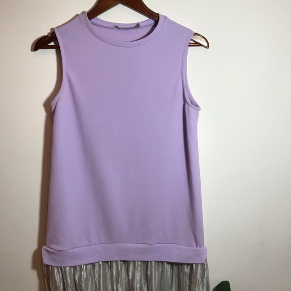 Lavender and silver pleated dress